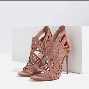 Zara mauve laser cut leather stiletto heels
